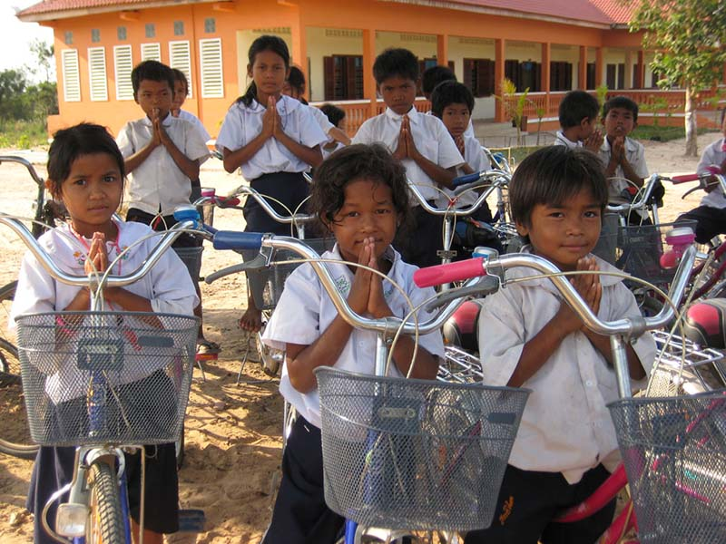 Children bike up to 10km each day to get to school